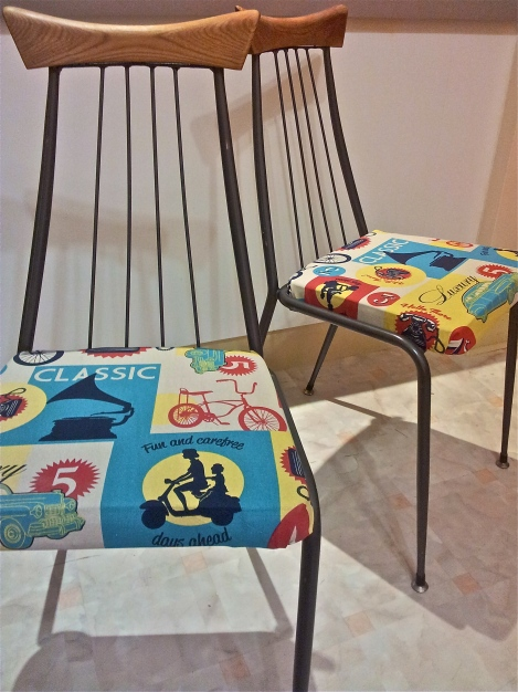 Upcycled-and-refurbished-retro-vintage-dining-chairs-in-designer-upholstery-fabric-at-the-Lost-and-Found-Office-in-Canberra