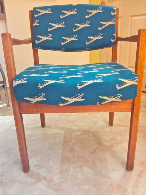 Upcycled-and-refurbished-retro-vintage-chair-in-designer-upholstery-Japanese-aeroplane-fabric-at-the-Lost-and-Found-Office-in-Canberra