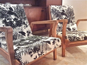 Upcycled-and-refurbished-retro-vintage-chairs-in-designer-Florence-Broadhurst-upholstery-fabric-at-the-Lost-and-Found-Office-in-Canberra