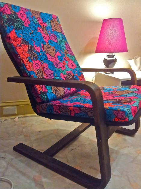 Upcycled-and-refurbished-retro-vintage-chair-in-designer-upholstery-fabric-with-handmade-lampshade-by-the-Lost-and-Found-Office-in-Canberra