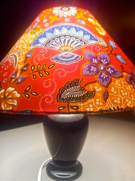 upcycled-designer-lampshade-with-refurbished-vintage-base-in-funky-fabric-with-blue-fans-on-red-gold-and-purple-background-handmade-in-Canberra