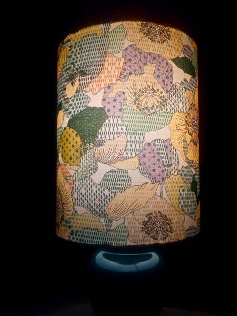 upcycled-designer-lampshade-with-refurbished-vintage-base-in-spring-flowers-with-green-lilac-and-yellow-fabric-handmade in Canberra