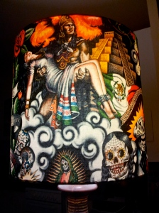handmade-lampshade-with-day-of-the-dead-motif-on-vintage-ceramic-base-by-the-Lost-and-Found-Office-Queanbeyan-NSW-Canberra-Australia