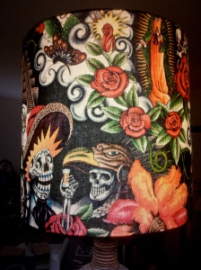 vibrant-handmade-lampshade--with day-of-the-dead-motif-on-vintage-ceramic-base-by-the-Lost-and-Found-Office-in-Queanbeyan-NSW-near-Canberra-Australia