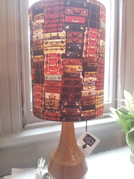 Handmade-lampshade-in-fun-and-funky-retro-stacked-suitcase-luggage-fabric-on-vintage-ceramic-base-matching-cushions-available-created-by-the-Lost-and-Found-Office-Canberra-Queanbeyan-Sydney-NSW-Australia