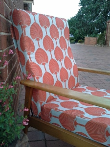 fabulous-refurbished-vintage-60s-lounge-chair-in-Florence-Broadhurst-Miko-print-in-cayenne-burnt-orange-handmade-here-at-the-Lost-and-Found-Office-Queanbeyan-Sydney-NSW-Canberra-Ben-Chapman-Bobby-Cerini