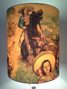 Handmade-vintage-lampshade- Lost-and-Found-Office-Queanbeyan-Canberra-Australia-designer-Alexander-Henry-retro-chic-kitsch-fabric-cowgirls-sexy-horse-riding-funky-lampshade-Ben-Chapman-Bobby-Cerini